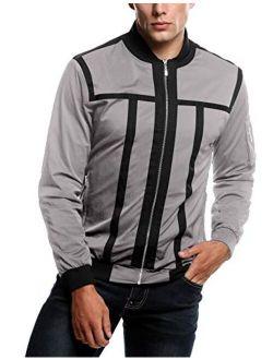 Mens Zip Up Contrast Color Stripe Slim Fit Bomber Jacket Coat