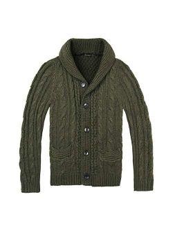 BOTVELA Men's Shawl Collar Cardigan Sweater Button Front Solid Knitwear