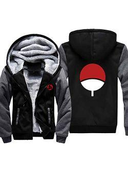 ELEFINE Boys Men's Fleece Thick Hoodies Naruto Cosplay Uchiha Itachi Mangekyo Sharingan Zip Jacket