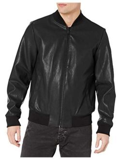 Men's Leather Bomber Jacket With Embossed Sleeve