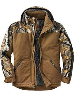 Men's Canvas Cross Trail Big Game Camo Workwear Hooded Jacket
