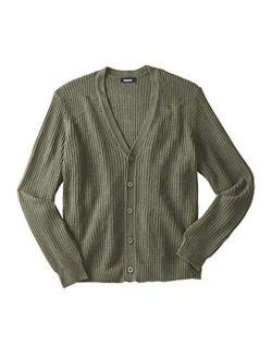 KingSize Men's Big and Tall Shaker Knit V-Neck Cardigan Sweater