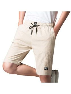 DIOMOR Plus Size Classic Pure Color Elastic Waist Cargo Shorts Casual Beach Board Trunks Outdoor Walk Hiking Pants