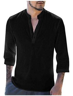 APRAW Mens Summer Henley Shirts Linen 3/4 Sleeves Beach Pullover Tees Loose Yoga Casual Tops