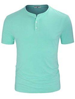 Derminpro Men's Henley Cotton Casual Short/Long Sleeve Lightweight Button T-Shirts