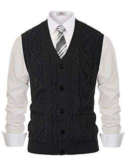 PJ PAUL JONES Men's Cardigan Sweater Vest Cable Knitwear V-Neck Waistcoat