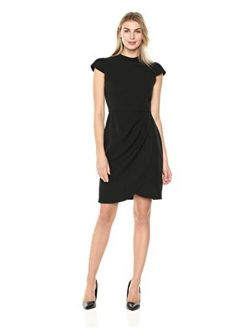 And - Lark & Ro Women's Cap Sleeve Mockneck Ruched Dress