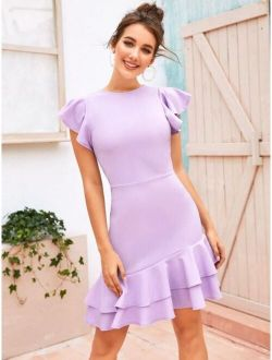 Layered Ruffle Hem Flutter Sleeve Dress