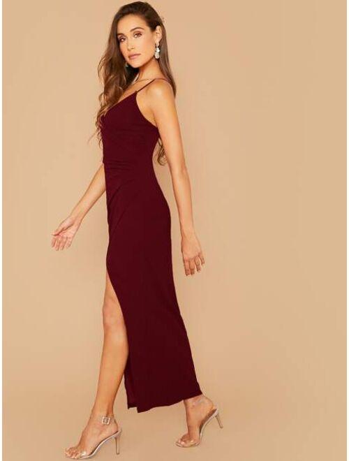 Verdusa Women's Sexy V Neck Wrap Ruched Side Split Bodycon Cami Dress