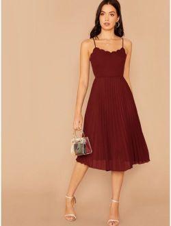 Scallop Trim Pleated Hem Cami Dress
