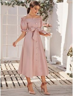 Off Shoulder Ruffle Trim Buttoned Front Belted Dress