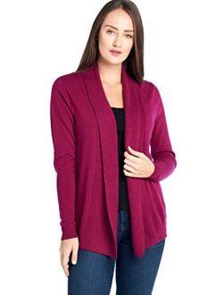 Mariyaab Women's 100% Cashmere Soft Long Sleeve Front Drape Open Cardigan