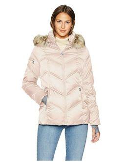 Women's Short Puffer Coat With Faux Fur Trim Hood