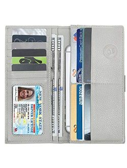 Slim Women's Leather Wallet (Light Grey) RFID-Blocking Large Capacity Clutch with Phone Holder, ID Window Premium Cowhide Leather Zippered Ladies Purse & Military Shieldi