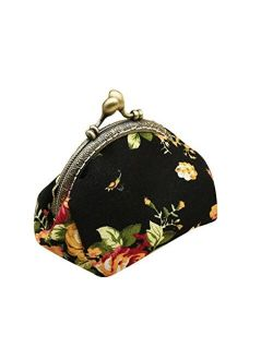 HeySun Girls Floral Slim Wallet Kiss-Lock Change Pocket Casual Coin Purse for Ladies