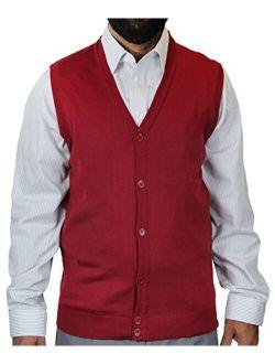 Blue Ocean Solid Color Cardigan Sweater Vest