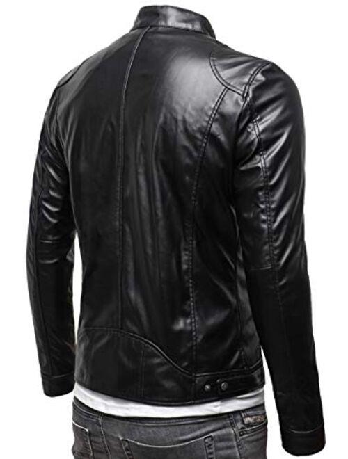 Marcucci Faux Leather Jacket Nero Mens Slim Fit Motorcycle Jacket