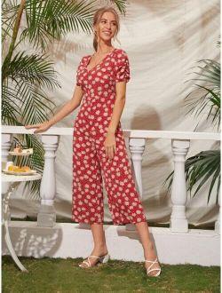 Floral Print V-neck Gathered Sleeve Jumpsuit