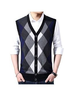 Flygo Men's Basic V-Neck Wool Sweater Vest Knitwear with Button Front Pockets
