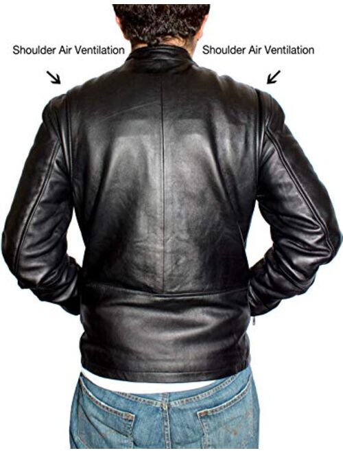 DaRucci Leather NYC Black Leather Jacket for Men - Cafe Racer Motorcycle Jacket Genuine Leather Mens Jackets