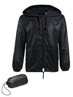 Men's Packable Rain Jacket Outdoor Waterproof Hooded Lightweight Classic Cycling Raincoat