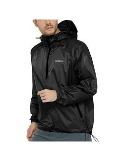 DEMOZU Men's Waterproof Windbreaker Lightweight Packable Hooded Raincoat Outdoor Running Hiking Rain Jacket