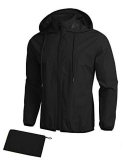 Unisex Packable Rain Jacket Lightweight Waterproof Hooded Raincoats Outdoor Cycling Running Hiking Jacket