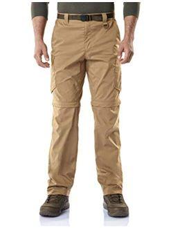 Men's Convertible Cargo Pants, Water Repellent Hiking Pants, Zip Off Lightweight Stretch Upf 50+ Work Outdoor Pants