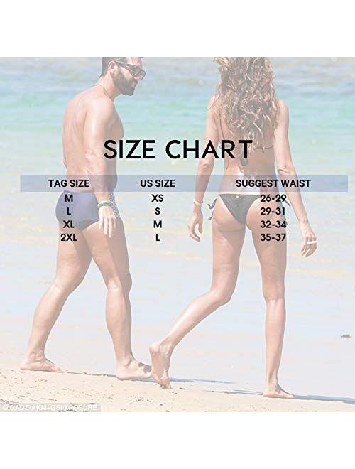 MIZOK Men's Quick Dry Swim Briefs Bikini Swimsuit Board Shorts with Adjustable Drawstrig
