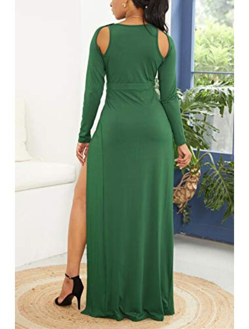 Velius Women Sexy Hollow Out Halter Wrap Sleeveless Plain Pleated Slit Casual Long Maxi Dress