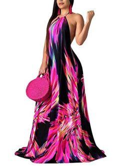LKOUS Sexy Halter Neck Floral Print Backless Beach Long Maxi Dress