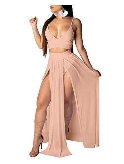 Rela Bota Women's Sexy Summer 2 Piece Maxi Chiffon Dress Crop Top Skirt Set Beachwear