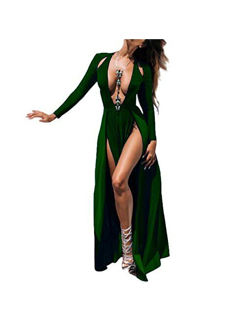 Bodycon4U Sexy Double High Slit Plunging V Neck Long Sleeve Club Party Beach Maxi Dress