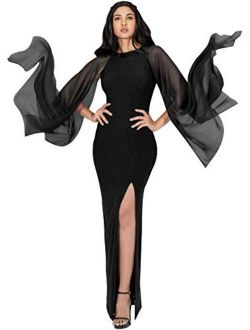 Womens Flowy Cocktail Party Elegant Formal Floor Length Maxi Dress Gown