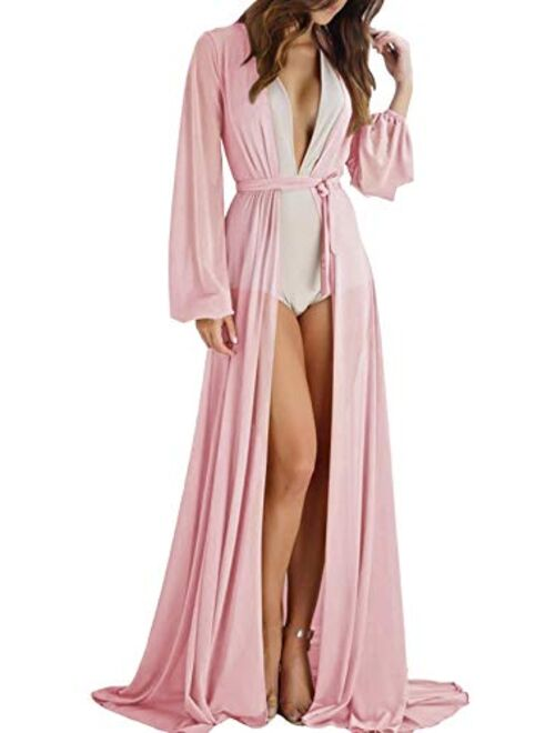Meenew Sexy See Through Double High Slit Long Maxi Lace Dress Lingerie Gown