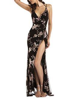 Women's Sexy Backless Halter High Split Floral Sequin Maxi Dress Black,s