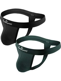 WLLWOO Men's Jockstrap Underwear, Low Rise Stretch Sexy Mesh Quick Dry Thongs Athletic Supporters Multipack