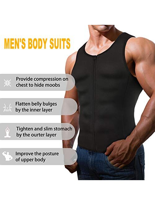 Wonderience Men Shapewear Slimming Body Shaper Compression Shirt Tank top with Zipper Underwear for Tummy Control