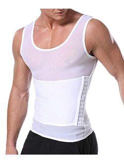 LARDROK Men's Mesh Slimming Body Shaper Compression Shapewear Shirt with Side Hook Slim Vest Tummy Shaper Tight Tank Top