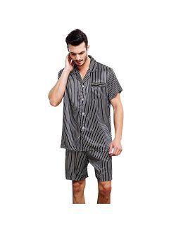 Mens Satin Short Pajamas Set S M L XL 2XL 3XL 4XL