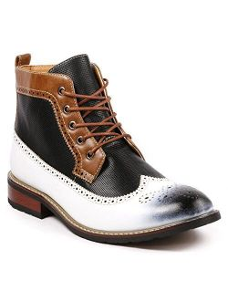 Metrocharm MET525-4 Men's Lace Up Perforated Wing Tip Formal Dress Casual Fashion Ankle Boots Run Big