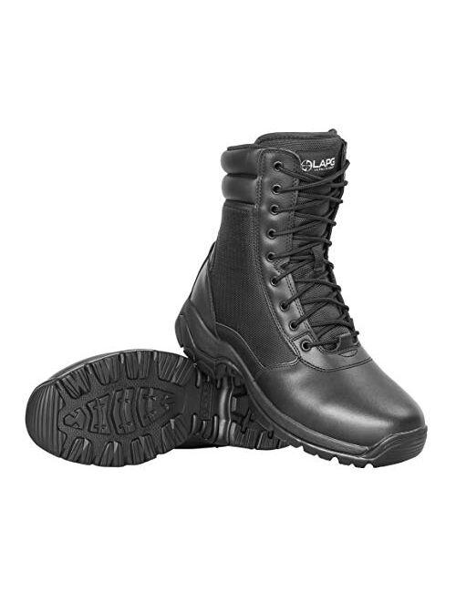 """LA Police Gear Men's Tactical Core 8"""" Leather Side-Zip Duty/Uniform Boot"""