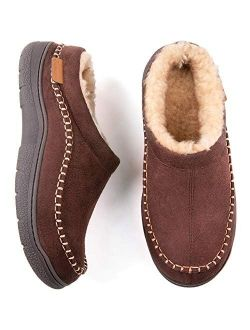 Zigzagger Men's Fuzzy Microsuede Moccasin Style Slippers Indoor/Outdoor Fluffy House Shoes