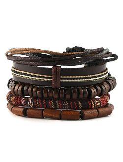 Wrap Bracelets Men Women, Hemp Cords Wood Beads Ethnic Tribal Bracelets, Leather Wristbands