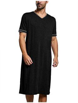 Runcati Mens Sleepshirt Cotton Nightshirt V Neck Short Sleeve PJ Comfy Soft Sleepwear Plain Nightgown Pajamas