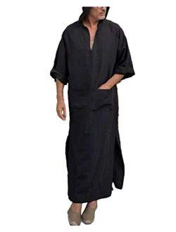 Taoliyuan Mens Kaftan Hooded Robe Linen Loungewear V Neck Long Night Gown Shirt Thobe