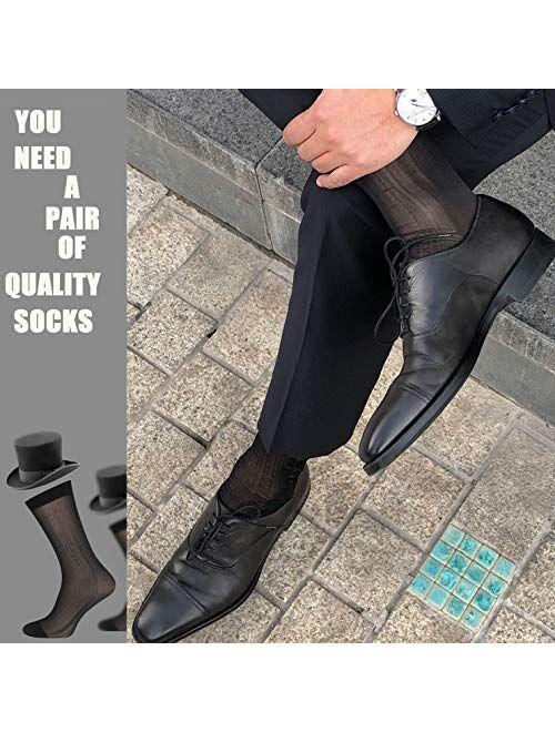 10 Pairs Mens Ultra Thin Dress Socks Silk Sheer Business Socks Soft Nylon Work Trouser Sox Mid Calf