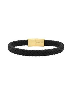 Geoffrey Beene Men's Braided Genuine Leather Bracelet with Stainless Steel Magnetic Closure
