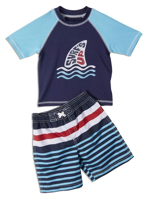 IXtreme Boys' 4-7 UPF 20+ Rash Guard & Swim Trunks, 2-Piece Stripe Swim Set