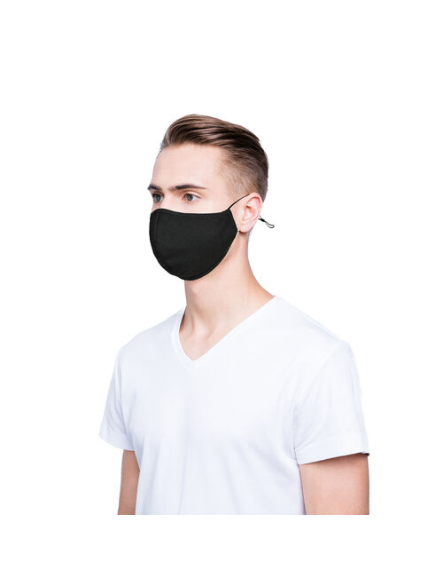 DALIX Cloth Face Mask Reuseable Washable in Black Made in USA - L-XL Size (3 Pack)